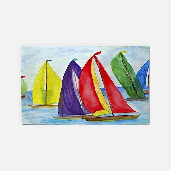 Colorful Sailboats Area Rug