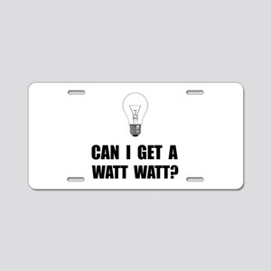 Watt Watt Light Bulb Aluminum License Plate