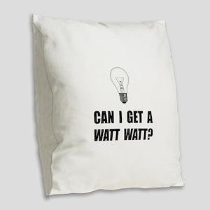 Watt Watt Light Bulb Burlap Throw Pillow
