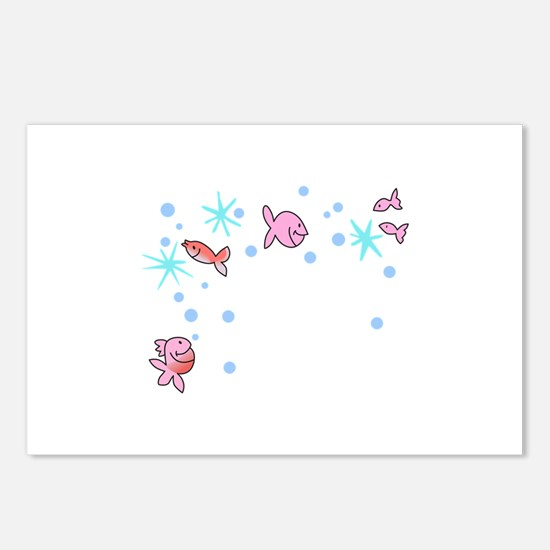 FISHY CORNER BORDER Postcards (Package of 8)