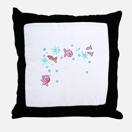 FISHY CORNER BORDER Throw Pillow