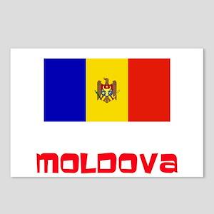 Moldova Flag Retro Red De Postcards (Package of 8)