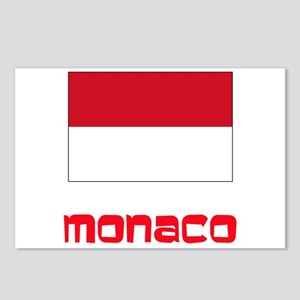 Monaco Flag Retro Red Des Postcards (Package of 8)
