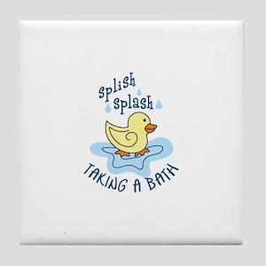 TAKING A BATH Tile Coaster