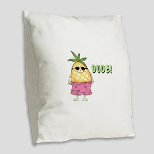 Dude! Burlap Throw Pillow