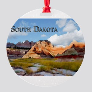 Mountains Sky in the Badlands Nati Round Ornament