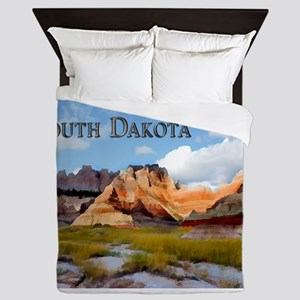 Mountains Sky in the Badlands Nationa Queen Duvet