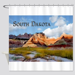 Mountains Sky in the Badlands Nati Shower Curtain