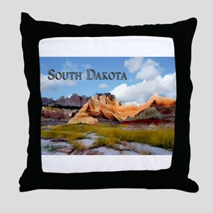 Mountains Sky in the Badlands Nation Throw Pillow