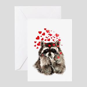 Raccoon Blowing Kisses Cute Animal Love Greeting C