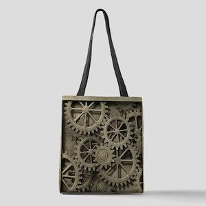 Steampunk Cogwheels Polyester Tote Bag