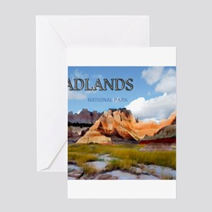 Mountains Sky in the Badlands Natio Greeting Cards