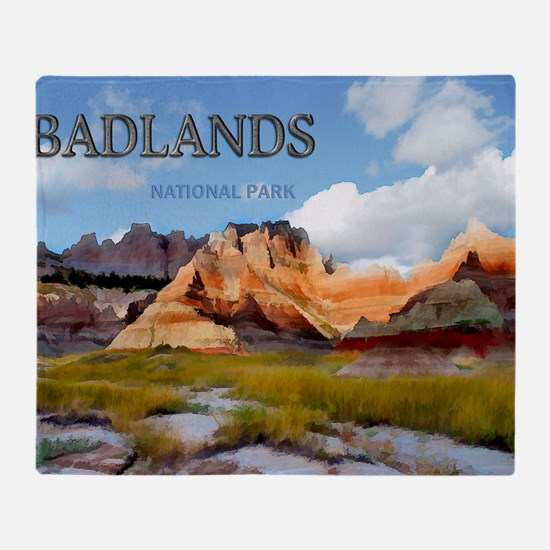 Mountains Sky in the Badlands Natio Throw Blanket