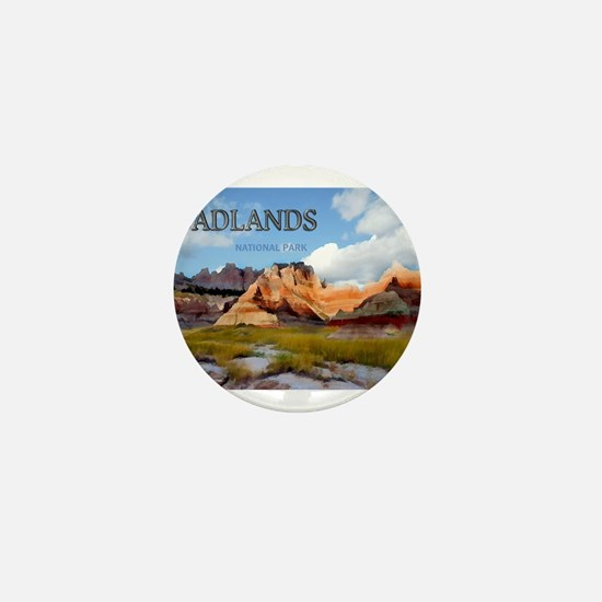 Mountains Sky in the Badlands Nationa Mini Button