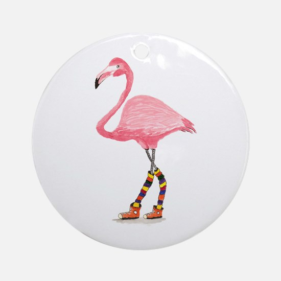 Styling Flamingo Ornament (Round)