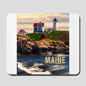 Cape Neddick Lighthouse Maine at Sunset Mousepad