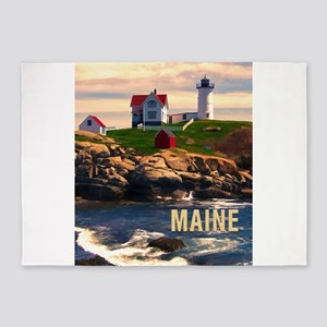 Cape Neddick Lighthouse Maine at Su 5'x7'Area Rug