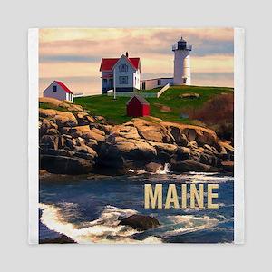 Cape Neddick Lighthouse Maine at Sunse Queen Duvet