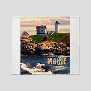 Cape Neddick Lighthouse Maine at Sun Throw Blanket