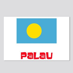 Palau Flag Retro Red Desi Postcards (Package of 8)