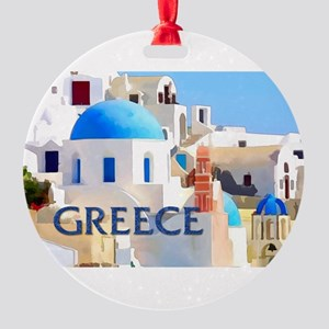 Blinding White Buildings in Greece Round Ornament