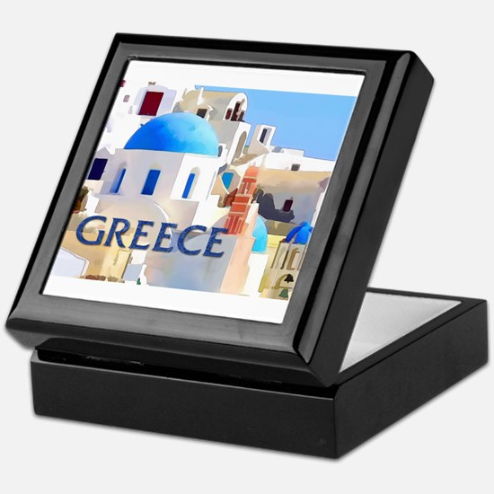 Blinding White Buildings in Greece Keepsake Box