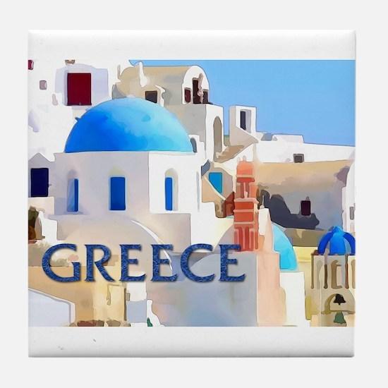 Blinding White Buildings in Greece Tile Coaster