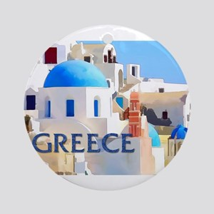Blinding White Buildings in Greec Ornament (Round)