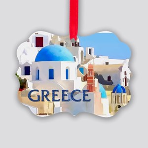 Blinding White Buildings in Greec Picture Ornament