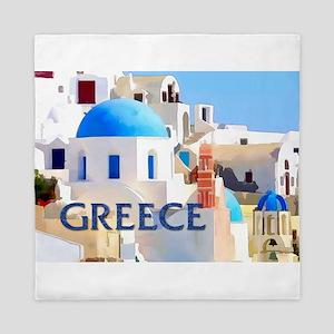 Blinding White Buildings in Greece Queen Duvet