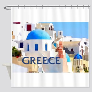 Blinding White Buildings in Greece Shower Curtain