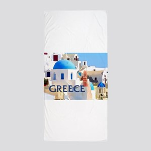 Blinding White Buildings in Greece Beach Towel