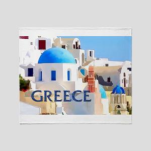 Blinding White Buildings in Greece Throw Blanket