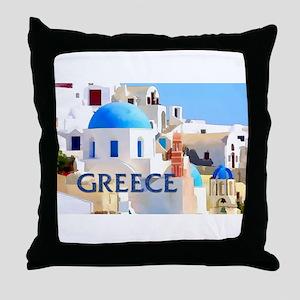 Blinding White Buildings in Greece Throw Pillow