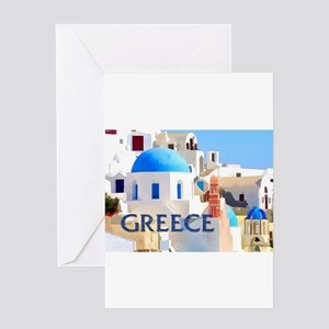 Blinding White Buildings in Greece Greeting Cards