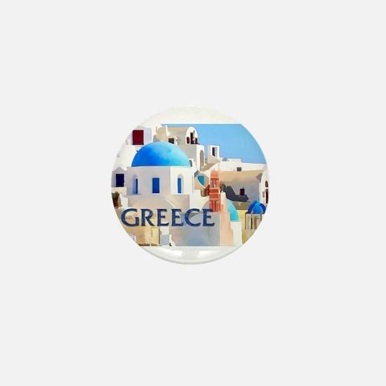Blinding White Buildings in Greece Mini Button