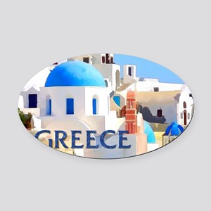 Blinding White Buildings in Greece Oval Car Magnet