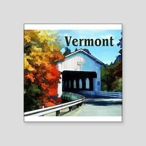 White Covered Bridge Colorful Autumn Verm Sticker