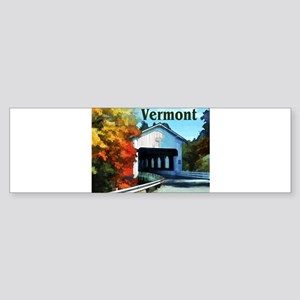 White Covered Bridge Colorful Autu Bumper Sticker