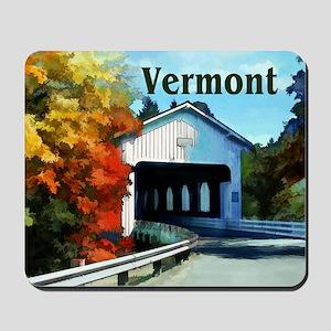 White Covered Bridge Colorful Autumn Ve Mousepad