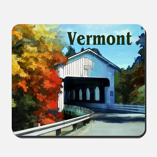 White Covered Bridge Colorful Autumn Ve Mousepad