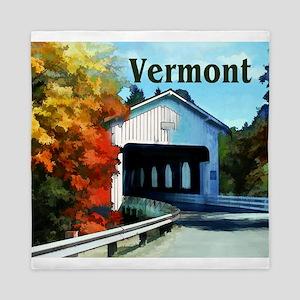 White Covered Bridge Colorful Autumn Queen Duvet