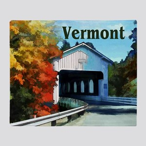 White Covered Bridge Colorful Autum Throw Blanket