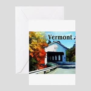 White Covered Bridge Colorful Autu Greeting Cards