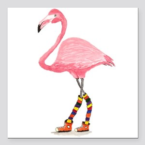 """Styling Flamingo Square Car Magnet 3"""" x 3"""""""