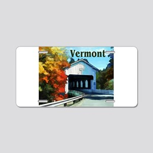 White Covered Bridge Color Aluminum License Plate