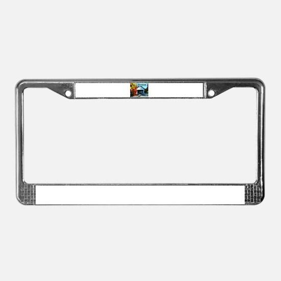 White Covered Bridge Colorful License Plate Frame