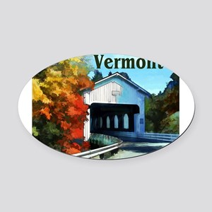 White Covered Bridge Colorful Aut Oval Car Magnet