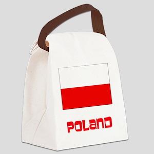 Poland Flag Retro Red Design Canvas Lunch Bag