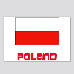Poland Flag Retro Red Des Postcards (Package of 8)